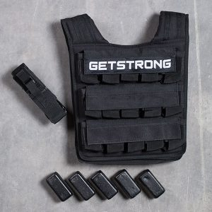 Chaleco Lastrado GS Pro con carga de 5 kg y cinturón de ajuste en cemento