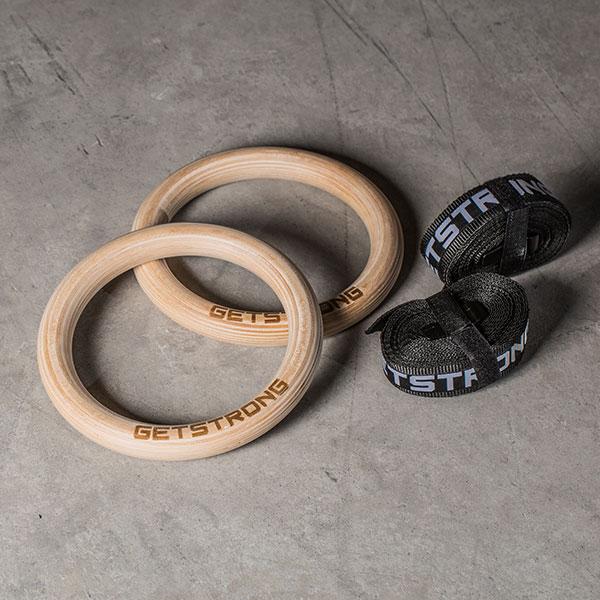 Anillas o Rings para Jaulas y Racks. Fabricadas en Madera con Grabado GetStrong