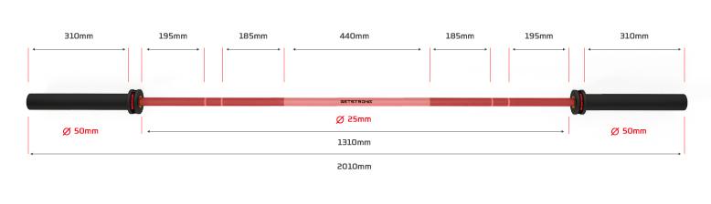 Barra Olímpica Phanter 15 kg roja para entrenamiento crosstraining