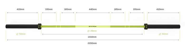 Barra Olímpica Rhino 20 KG Green para Entrenamiento CrossTraining