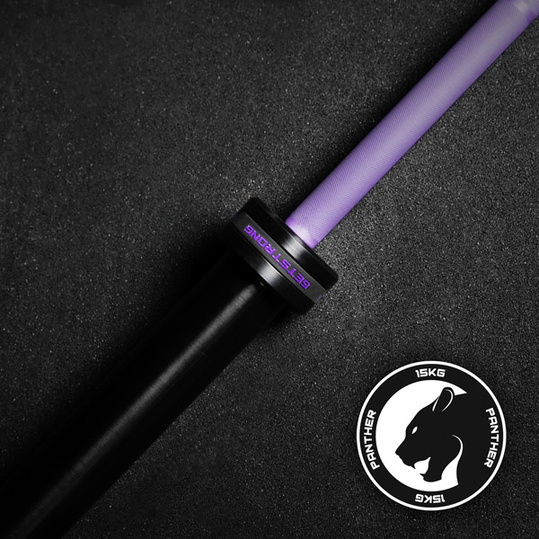 Barra olímpica phanter purple de 15 kg para entrenamiento de halterofilia
